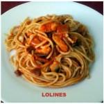 Espaguetis italianos, con nata y bacon y pollo y tomate. Tres sencillas de espaguetis