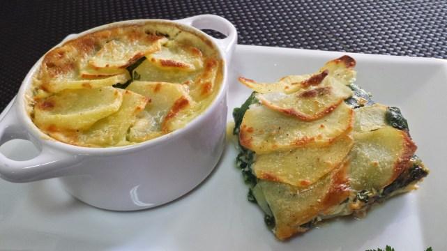 patatas y espinacas gratinadas