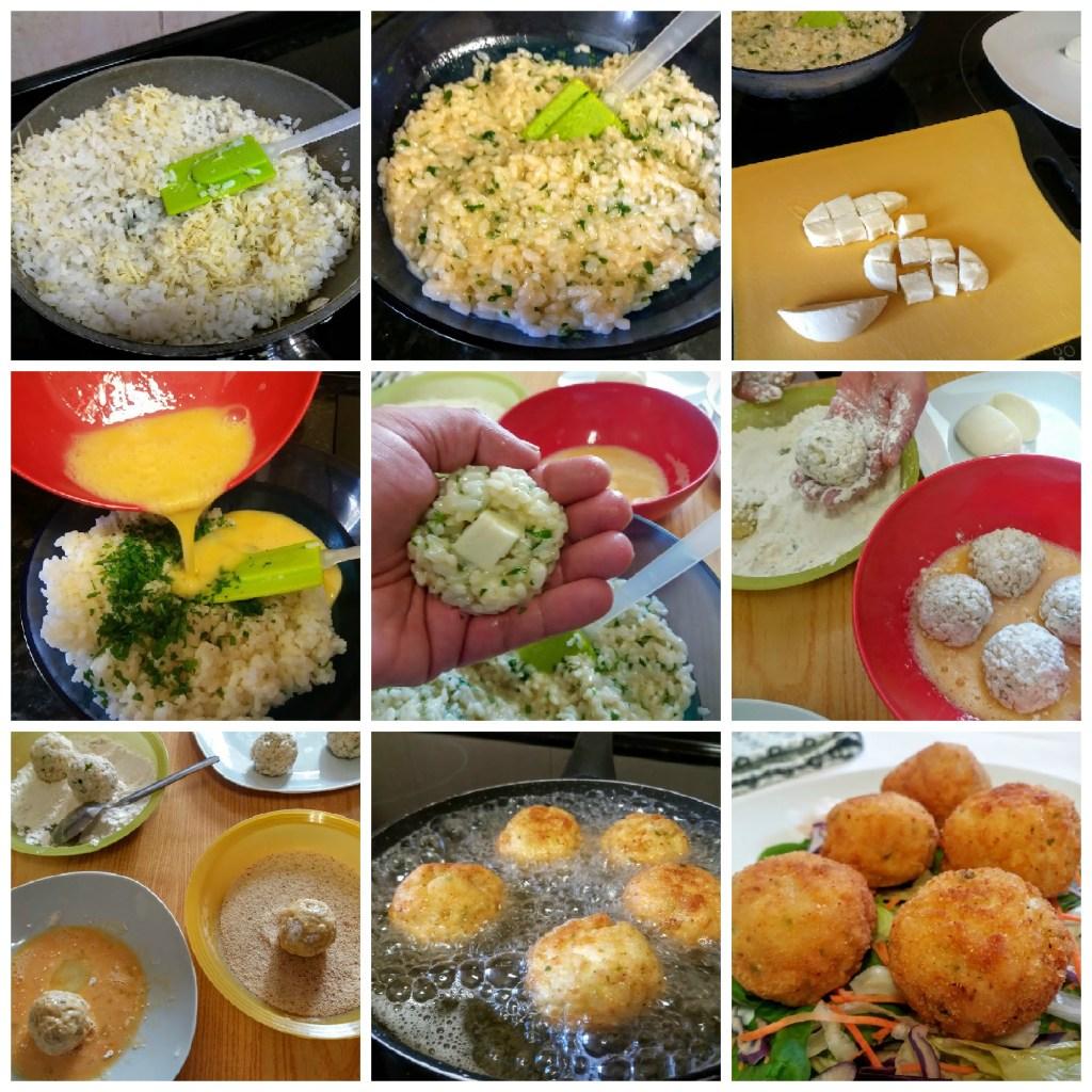 bolas de arroz con mozarella