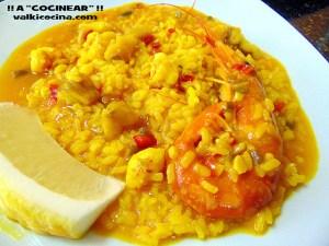 arroz con rape y gambones