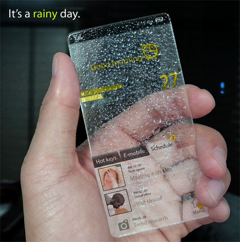 Completely Transparent Cell Phone Concept Designed by Seunghan Song (2)