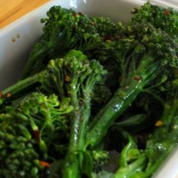 Broccolini with chili flakes and vinegar