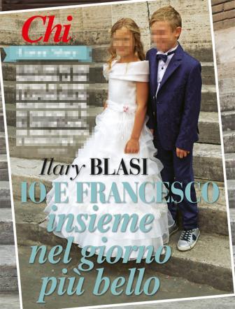 Chanel e Cristian Totti vestiti da sposi per la prima comunione FOTO