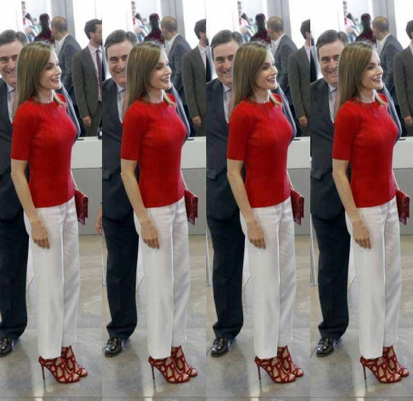 Letizia Ortiz look: pantaloni bianchi e sandalo...riciclato FOTO