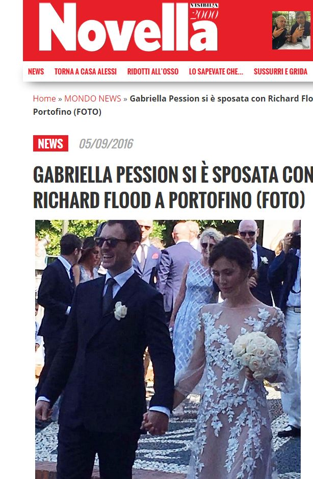 Gabriella Pession e Richard Flood sposi: nozze a Portofino