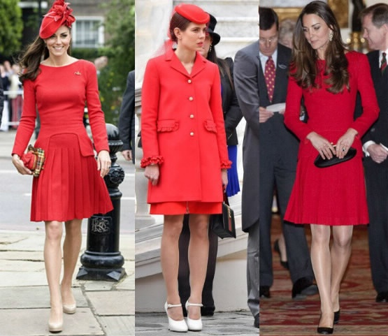 Charlotte Casiraghi, Kate Middleton impeccabili in rosso FOTO