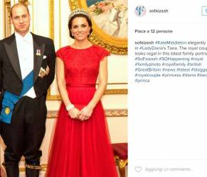 Kate Middleton look: abito rosso firmato Jenny Packham e tiara di Lady D