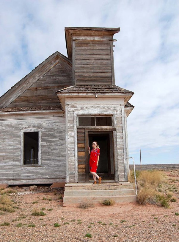 Taiban New Mexico, abandoned church, outfit post, vintage dress