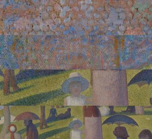 An image of Georges Seruat's La Grande Jatte, at four different levels of detail.