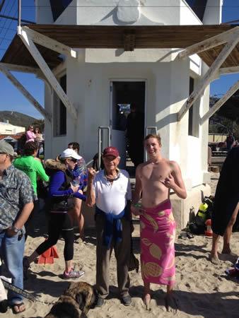 Chris Garau with his grandfather, an early Laguna Beach lifeguard.