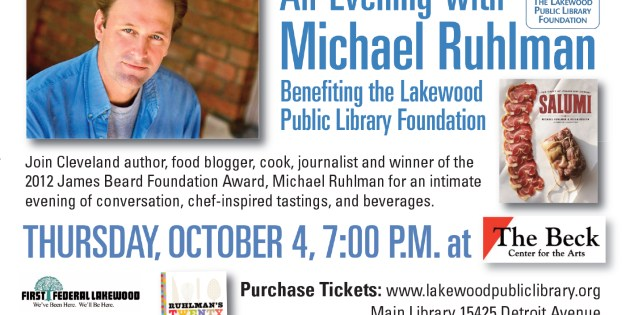 Meet Celebrity Chef Michael Ruhlman at Lakewood's Beck Center on Oct. 4th