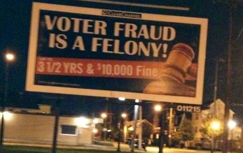 Billboard Attempts to Intimidate African American Voters in Cleveland, Ohio
