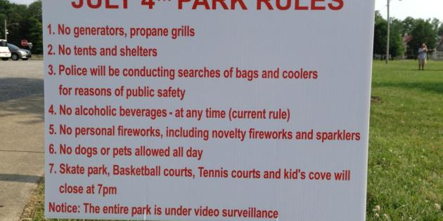 Special Rules to be in Effect at Lakewood Park on July 4th