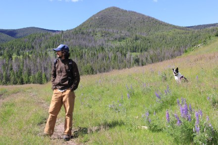 Joe and loyal field assistant, Kimber, near Tenderfoot Creek, Lewis & Clark National Forest, Montana.