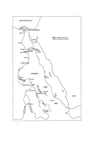 Topónimos egipcios y mapa geográfico de la   ruta naval y terrestre hacia Punt. Periodo Dinástico  Elaborado por J. Phillips. (Desplegar)