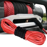"1/4"" x 50' RED Dyneema Synthetic Winch Rope Cable 6400 LBs Recovery Replacement SUV ATV UVT Pickup Truck"