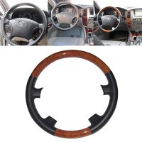 Black Leather Brown Wood Steering Wheel Cover Cap Protector for 2003 to 2007 Toyota Land Cruiser FJ100 4700 Hiace 200 Prado 2700 3400 4000