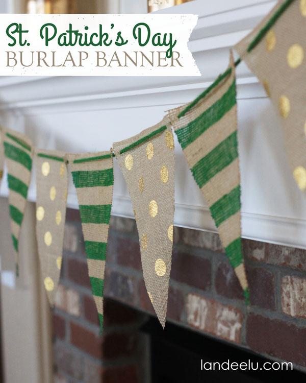 St Patricks Day Burlap Banner