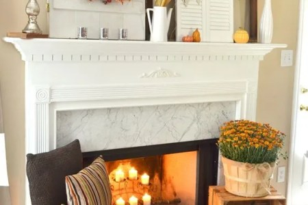 do it yourself layered and non centered fall mantel inspiration home decor ideas for autumn via the frugal homemaker