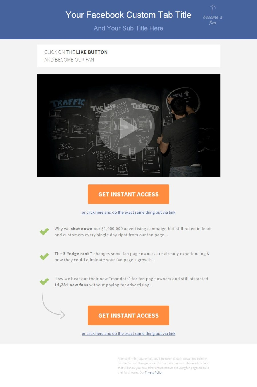 Brian Facebook Landing Page - Video landing page templates