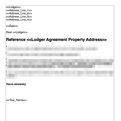End lodger agreement no fault