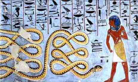Picture of Apep, the evil serpent god attacking Atum-Ra