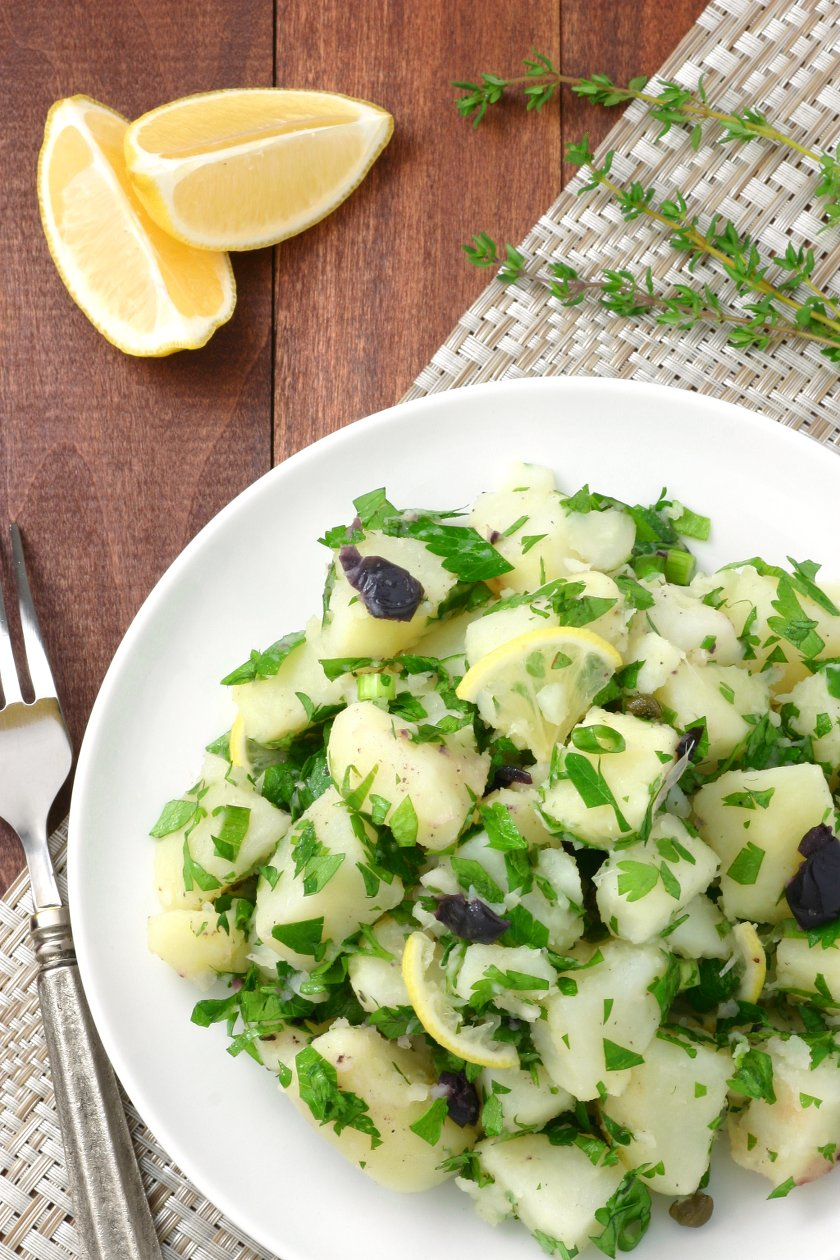 This Lemony Potato Salad is a change from the ordinary. It's tangy, herbaceous, and, thanks to the olives and capers, has little pops of flavor throughout.