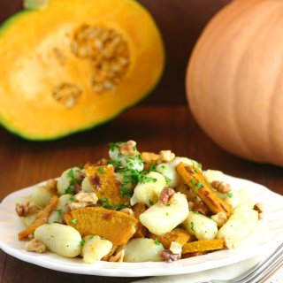Gnocchi with Roasted Pumpkin and Walnuts is a hearty pasta entrée with Fall flavors and a fluffy texture.