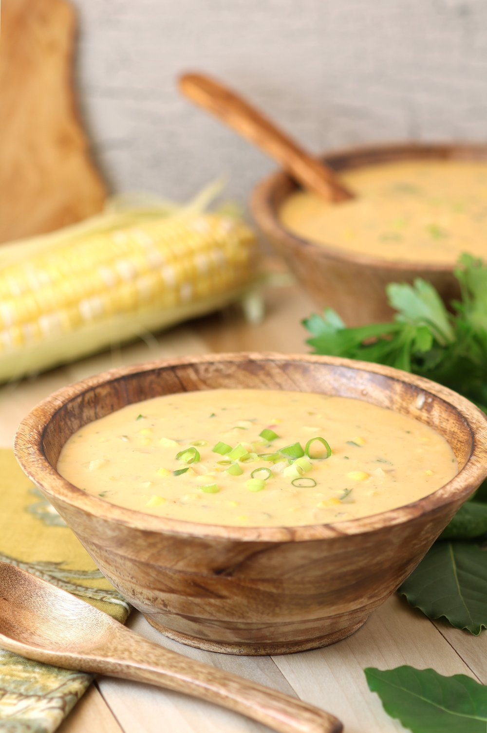 Thick and rich Creamy Vegan Corn Chowder is a delicious way to showcase the natural sweetness and creaminess of summer corn!