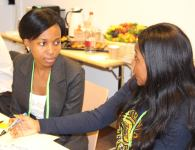 Daphne Nansambu, from Uganda, being interviewed by her mentor Peace Sasha Musonge. Photo credit: Peace Sasha Musonge
