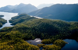 An aerial view of Clayoquot Sound, on the west coast of Vancouver Island in the Canadian province of British Columbia. Photo © Bryan Evans.