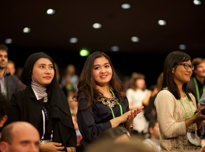 Young people are asked to stand during the closing plenary of the GLF. Around 1 in 6 Global Landscapes Forum delegates were under 30 years old.