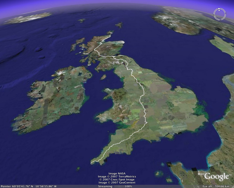 3D Route in Google Earth   Walking Land s End to John o Groats with     3D Route in Google Earth