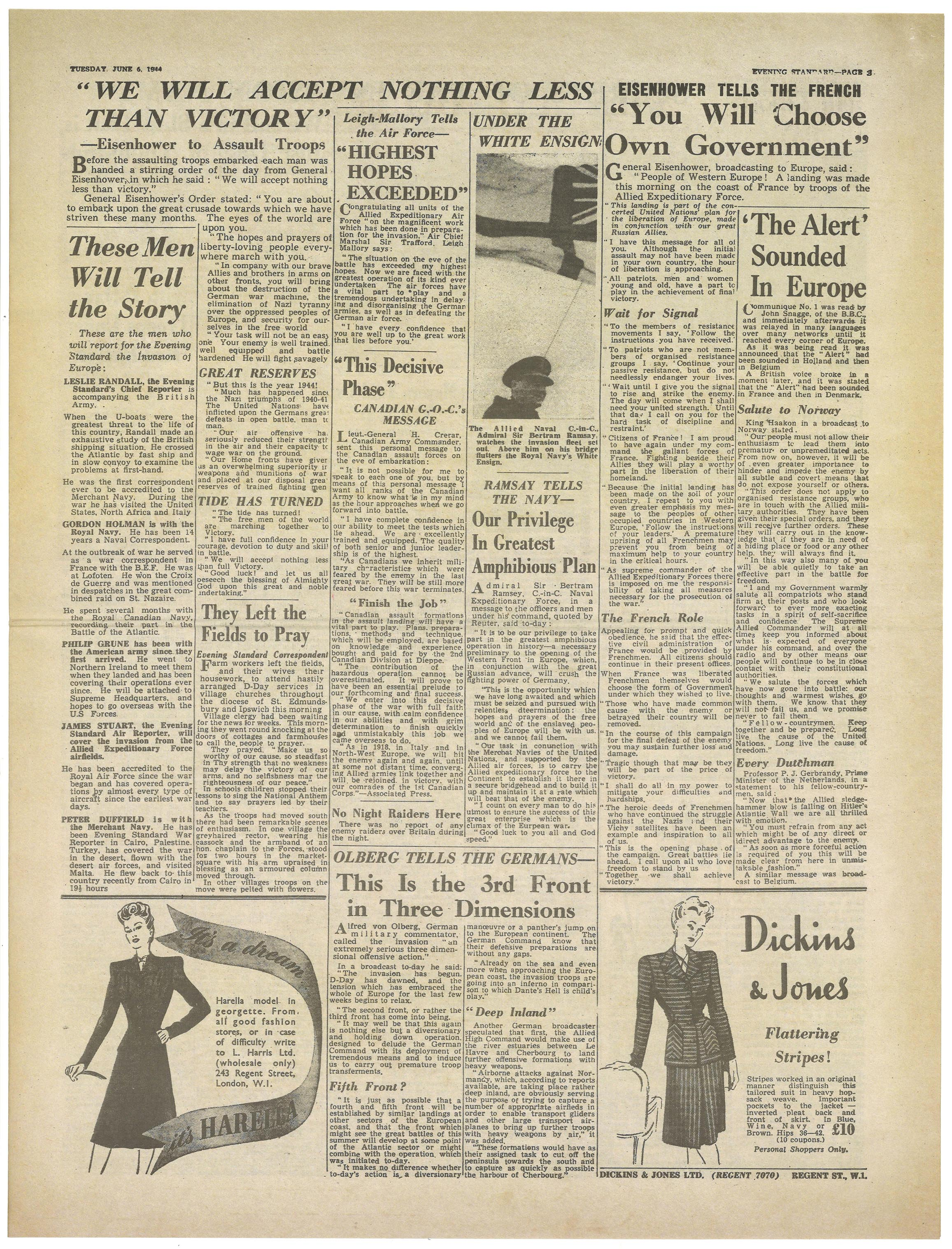 D Day Newspapers Evening Standard June 6th 1944 Page 3