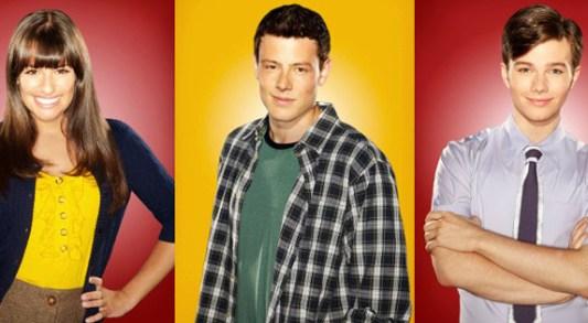 Lea Michele Chris Colfer Cory Monteith Glee Foto