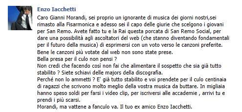 Critica a Gianni Morandi Sanremo Social