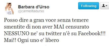 La D'Urso nega censura su Twitter