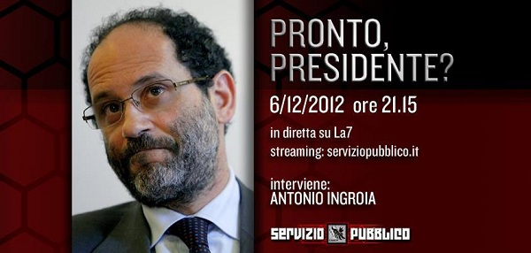 Antonio Ingroia ospite a Servizio Pubblico