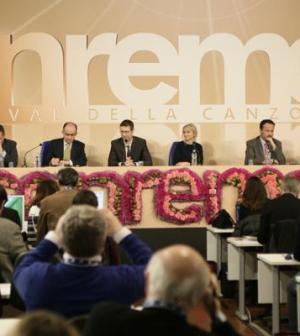 Foto conferenza stampa Sanremo 2013 con Fabio Fazio e Luciana Littizzetto