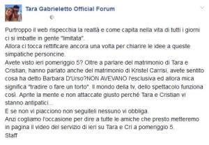 foto fanpage su Facebook di Tara Gabrieletto