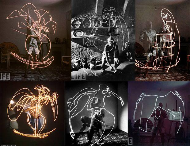 Pablo Picasso probando la técnica del light painting.