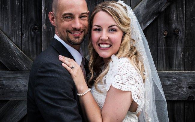 country club bride and groom wedding portrait