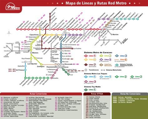 En el mapa actual se incluyen el Metrocable, el Metro Los Teques y el ferrocarril Valles del Tuy