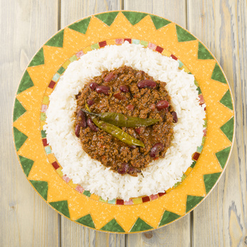 Chili Con Carne: Minced beef stew with chillies & beans over rice