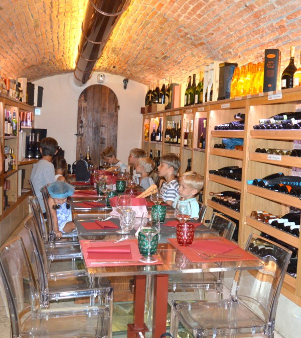 The cellar sits upon ancient ruins which have been preserved and are on show under foot.