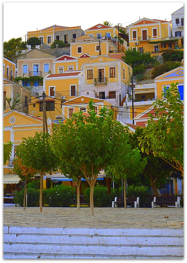 Symi houses and trees
