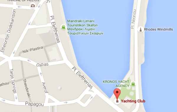 Yacht Club Cafe Rhodes Mandraki Harbour Map