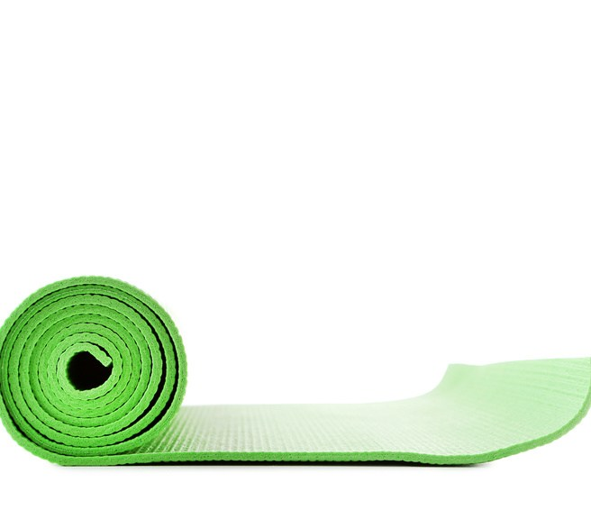 Fitness mat isolated on white background