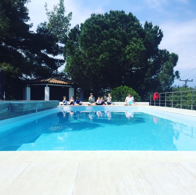 villa anna maria kids waiting to swim