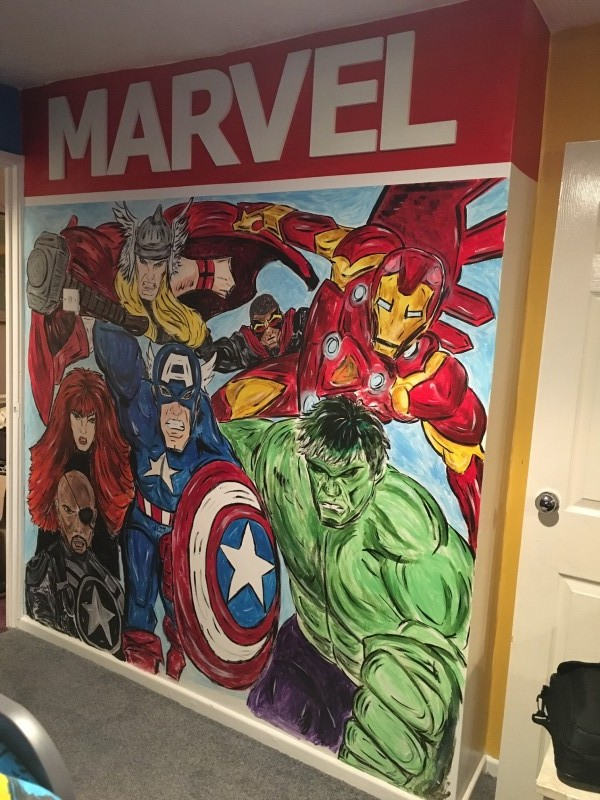 Marvel Mural handpainted Tania Sullivan marvel bedroom decoration